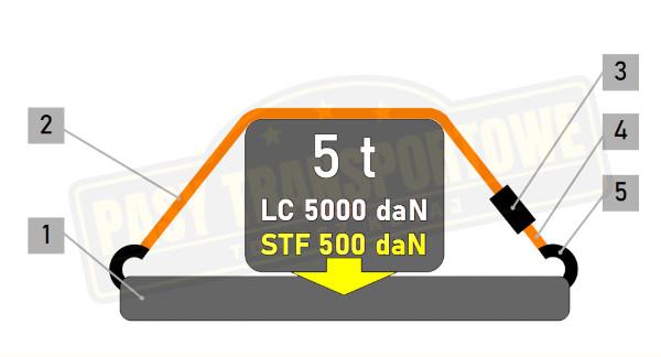 Pas transportowy 5 ton z napinaczem 500daN - mocowanie przez opasanie
