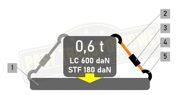 Pas ROLLO samozwijający z napinaczem 0,6 tony - 50 mm
